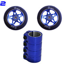 Pro stunt scooter set 2 Blue Star wheels 100mm abec 11 bearings scs clamp pegs