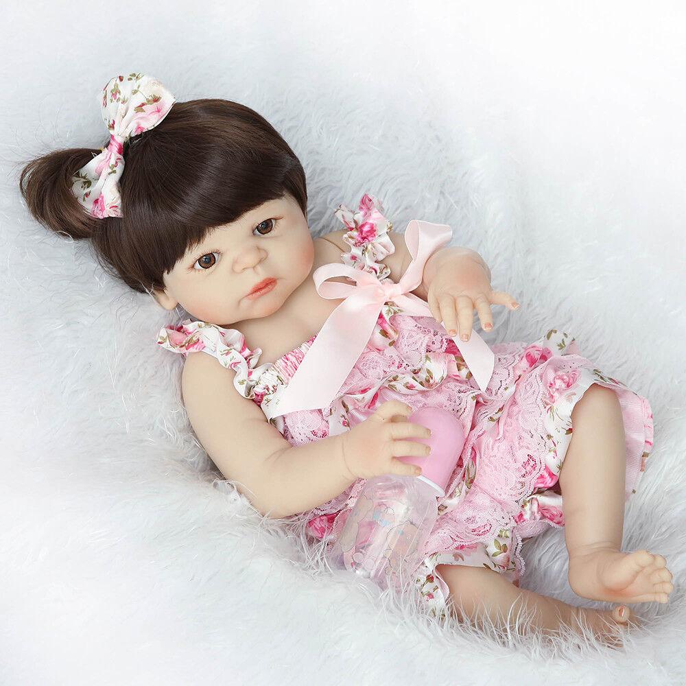 55cm Silikon Vinyl Reborn Baby Puppe Realistische Mädchen Geburtstagsgeschen DE