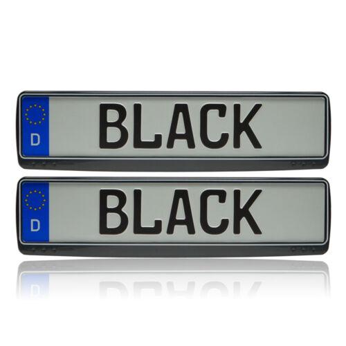 2x Schwarz-Weiß Tuning Kennzeichenhalter Kennzeichenrahmen universal KIA NEU