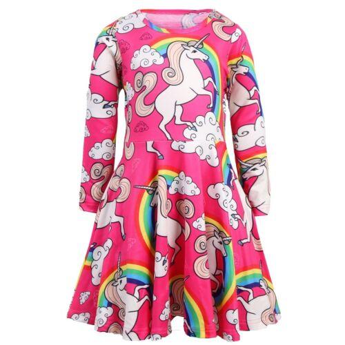 Girls Skater Dress Kids Long Sleeve Unicorn Casual Party Birthday Dresses ZG