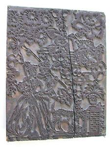 Grosses-Stoffmodel-Blaudruck-Model-um-1800-hoefisches-Paar-Blueten-Pflanzen