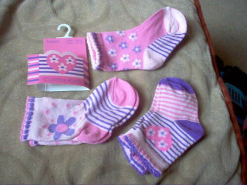 Pack of 3 Baby Girl Socks from shoe size 0-5.5