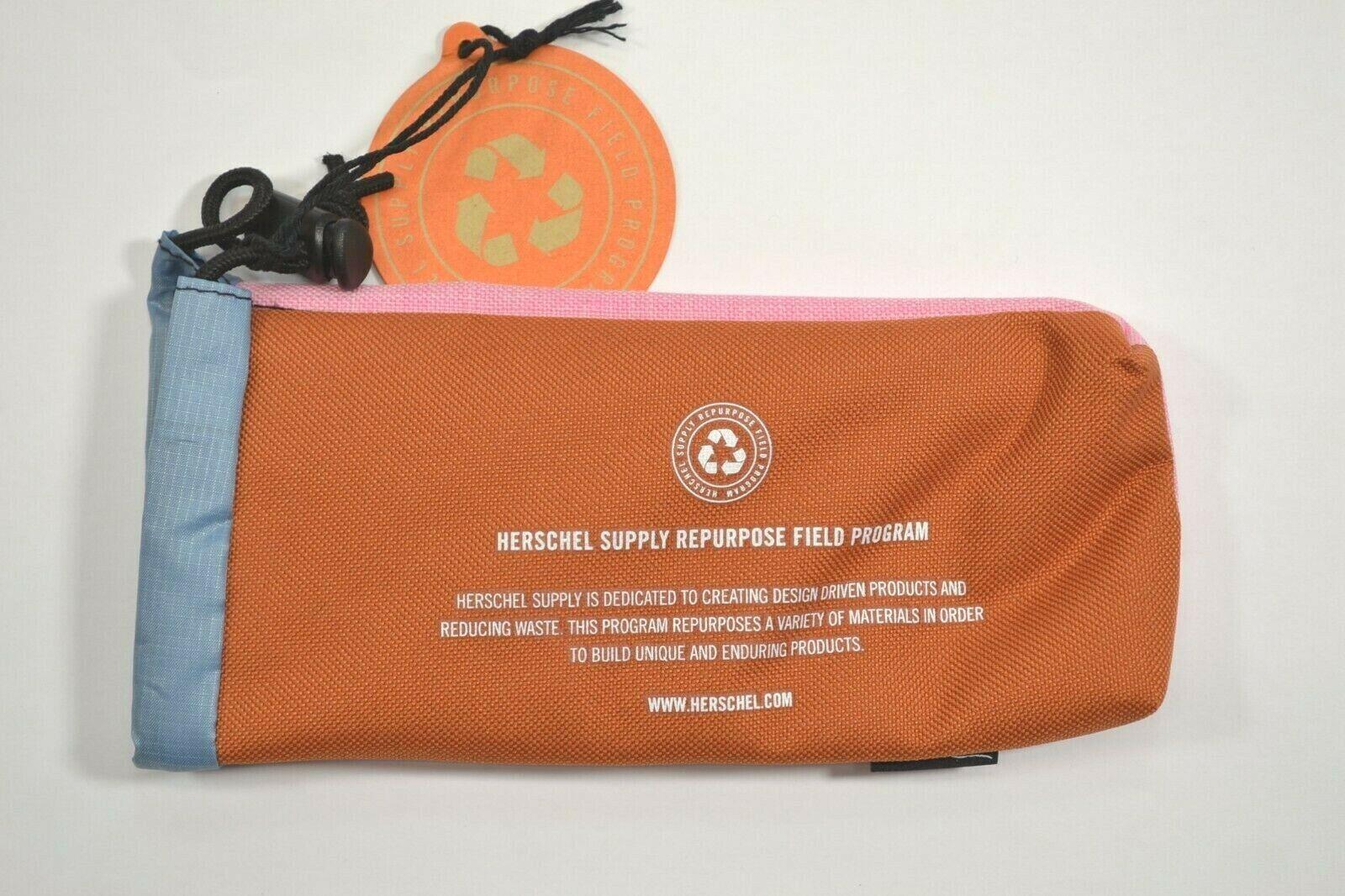 REPURPOSE POUCH Teal Rust Blue Fleece Lined Sunglasses Case Herschel Supply Co
