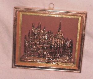 "Wall Hanging Shadow Box Ricordo Di Milano Il Dumo Copper Gold Leaf 6.5"" X 5.5"""