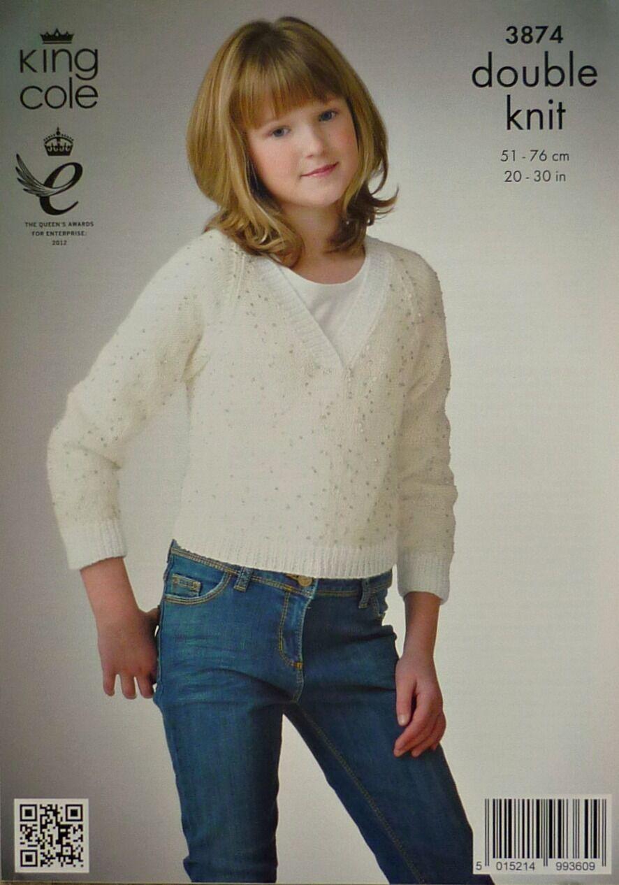 856c1eedd43aea King Cole DK Knitting Pattern 3874 Ballet Top   Sweater