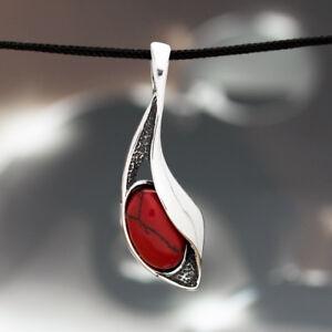Koralle-Silber-925-Anhaenger-Sterlingsilber-Damen-Schmuck-A0198