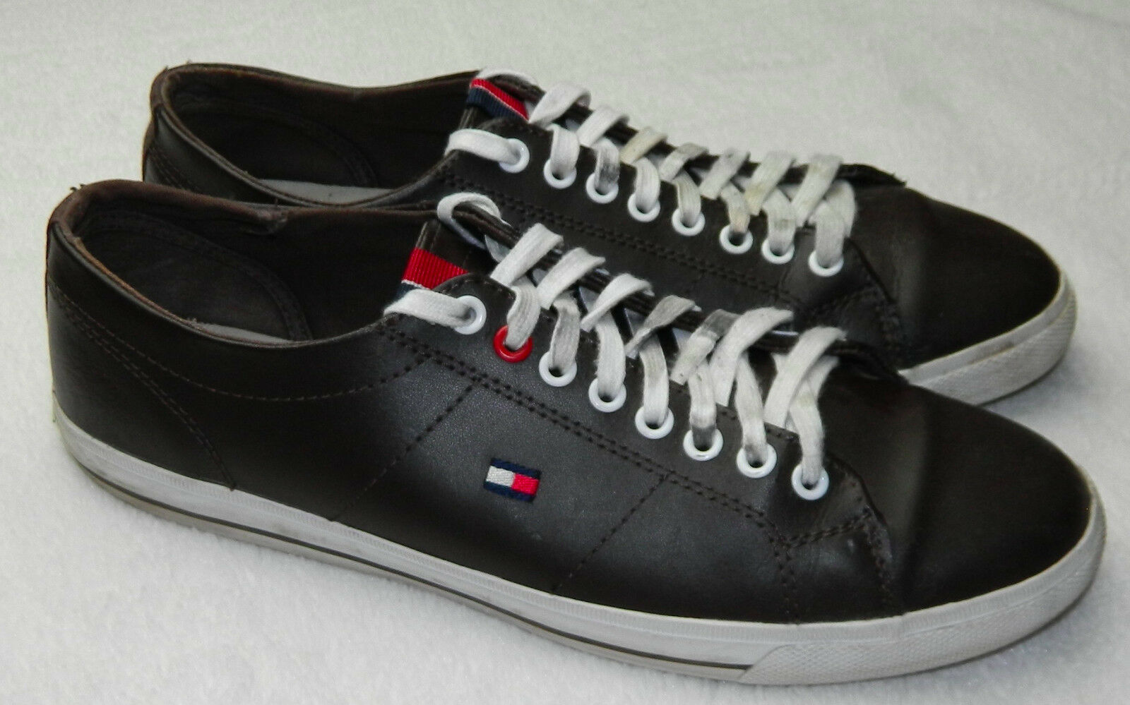 TOMMY HILFIGER Shoes SNEAKERS Mens LOGO 7.5 Womens 9 FLAG LOGO Mens Brown LEATHER   i c80d0a