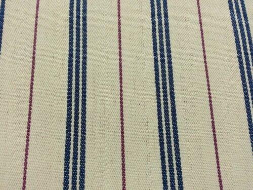 Cream Blue  Wine Canvas  Striped Fabric  214cm wide per 1.5 metre