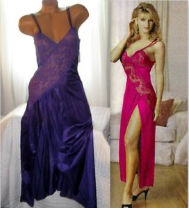 Purple-Criss-Cross-Lace-Bodice-High-Slit-Nightgown-S-L