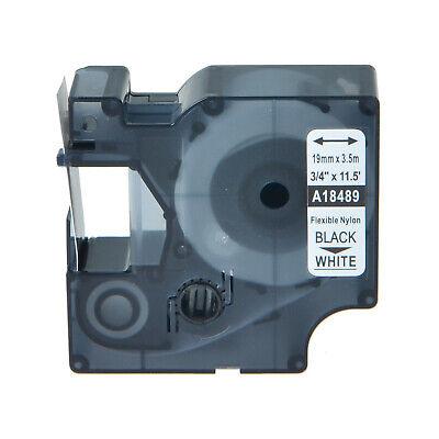 "5PK 18489 Flexible Nylon Lable Tape 3//4/"" Black on White for DYMO Rhino6000 PL300"