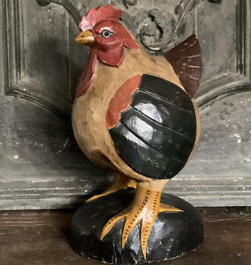 Primitive Carved Wood Folk Art Chicken Hen Rooster -Painted Colorful Rich Colors