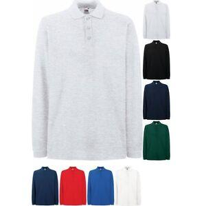 cd7fe661a9 Details about Men Fruit Loom 100% Cotton Plain Premium Polo Neck Collar  Long Sleeve Shirt Top