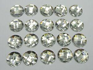 100-Clear-Acrylic-Flatback-Rhinestone-Faceted-Round-Gems-14mm-No-Hole