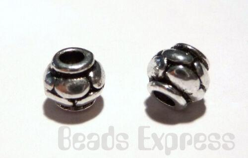 T012 20pc 6.5mm Tibetan Silver Ridged Barrel Metal Spacer Beads