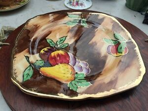 Vintage-English-H-amp-K-Tunstall-Fruit-Decorated-Plate-Gilded-Rims