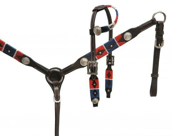 mostrareuomo PONY Leather Bridle & Breast Collar Set w rosso, bianca & blu Embroidery