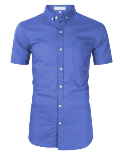 Camisas Mens Short Sleeve Shirts Dress Slim Fit Oxford Multicolor Cotton EKD217