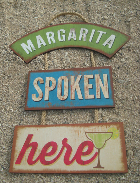 MARGARITA SPOKEN HERE Tiki Beach Bar Wood Cantina Rope Sign Home Decor NEW