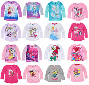 38d291a76bb3 Girls Kids Official Licensed Disney Various Character Long Sleeve T ...