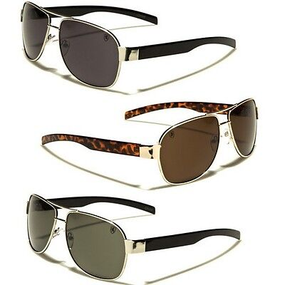 Khan Classic Aviator Men/'s Sunglasses Retro Vintage Black Tortoise Gold Glasses