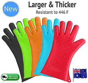 Silicone-BBQ-Gloves-Pair-Kitchen-Oven-Mitts-Non-Stick-Long-Heat-Proof-Resistant