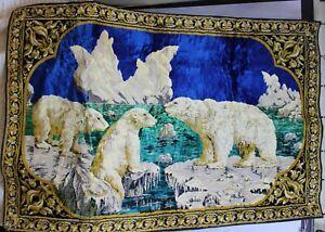 Vtg-Engastadas-Terciopelo-Alfombra-Blanco-Polar-Bears-Artico-Hielo-Tapas-Iceberg