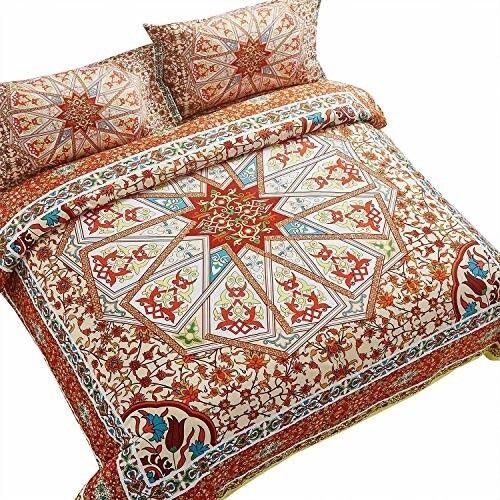 Bohemian Medallion Comforter Set Bright King Größe Microfiber Bed Sheet Set of 3