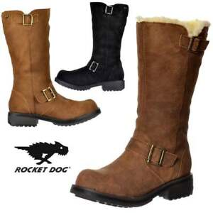 00f11f4044c9a WOMENS ROCKET DOG KNOCKOUT MID CALF BIKER BOOT LEATHER OILED SUEDE ...