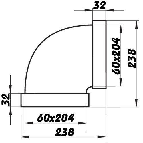 90° 204 mm x 60 mm Kniestück horizontal 8281