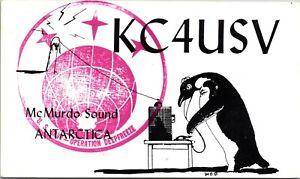 Vtg Ham Radio CB Amateur QSL QSO Card Postcard ANTARCTICA KC4USV MCMURDO 56