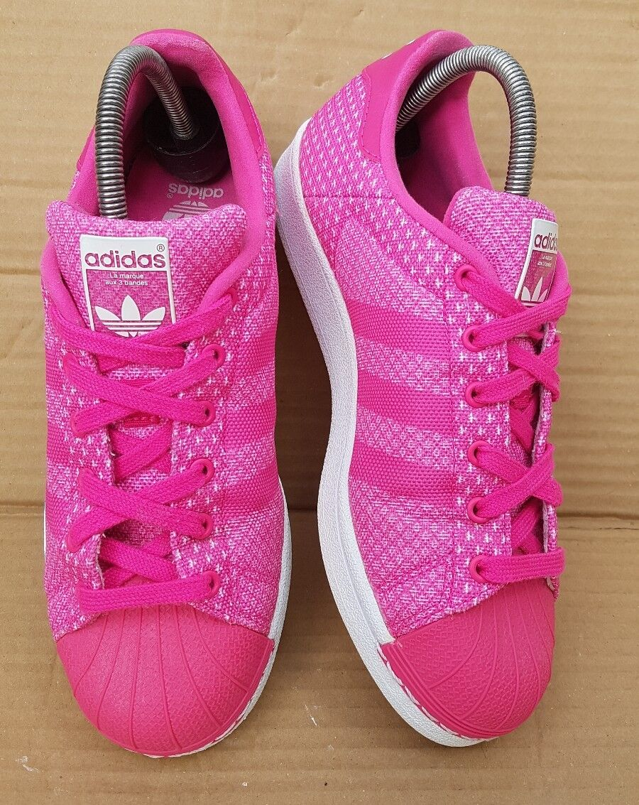 ADIDAS SUPERSTAR SHELL TOE TRAINERS PINK WEAVE IN SIZE 5 UK EXCELLENT CONDITION