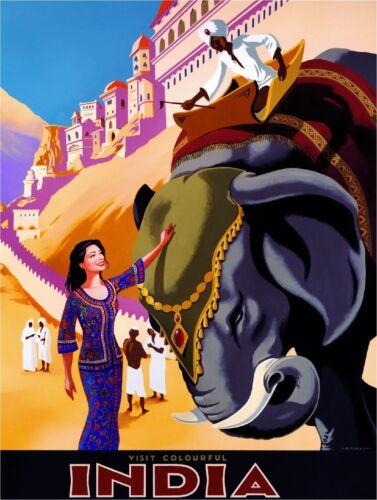Visit Colourful India Elephant Vintage Travel Art Advertisement Poster