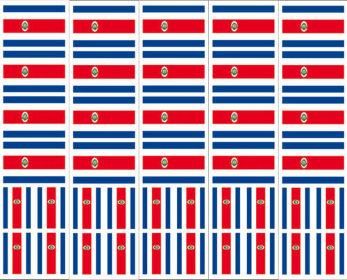Costa Rican Flag Decals 40 Removable Stickers Costa Rica Party Favors