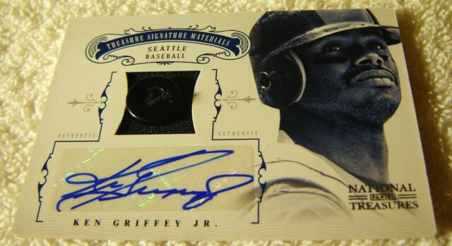 KEN GRIFFEY JR 2012 NATIONAL TREASURES AUTO BUTTON PATCH #46 SER #4/6 MARINERS