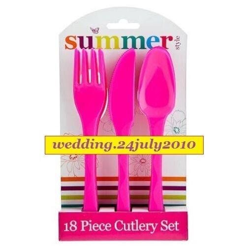 Nueva Rosa 18pc Fiesta Picnic Cubiertos de Plástico Reutilizable 6 X Juego De Cuchillo Tenedor Cuchara