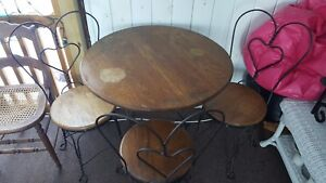 Details About Vintage Antique Ice Cream Parlor Set Twisted Iron Oak Table And 3 Chairs