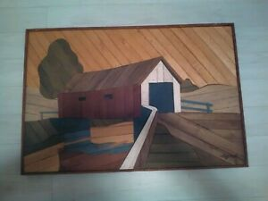 Vintage-Rare-Degroot-Wood-Lath-Art-Covered-Bridge