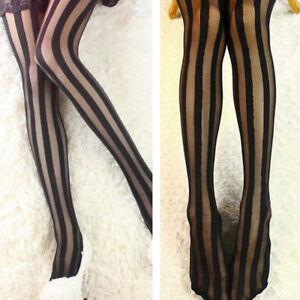 746bd710a Image is loading Fashion -Women-Black-Vertical-Stripe-Pattern-Tattoo-Pantyhose-
