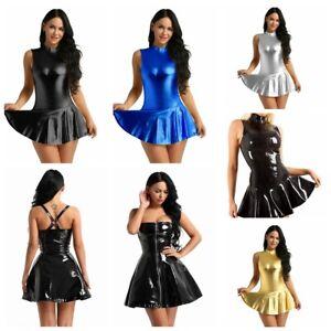Women-Metallic-Faux-Leather-Swing-Dress-Ladies-Skater-Mini-Dress-Party-Clubwear