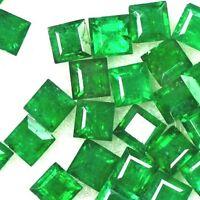NATURAL TOP GRADE! GREEN EMERALD LOOSE GEMSTONE (5p /1.4 to 2.5mm) PRINCESS CUT