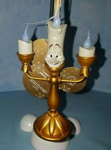 Disney Parks Beauty And The Beast Lumiere Candle Light Up Christmas Ornament