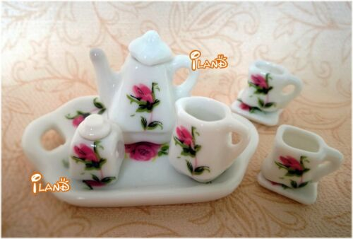Dollhouse Mini Tableware Porcelain Coffee Set Tea Set Pot Tray Cups 8PCS DC107