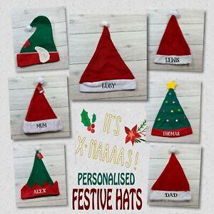 PERSONALISED CHRISTMAS SANTA ELF TREE FESTIVE HATS PARTY HAT UK
