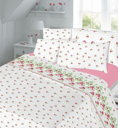 Thermal Flannelette Printed Duvet Cover or Sheet set Fitted Flat Pillow cases