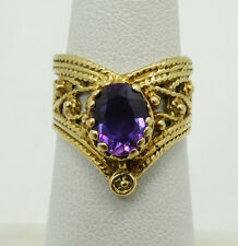 Elegant 18K Yellow Gold Oval Amehtyst Detailed Filigree Ring Sz 5 A2293