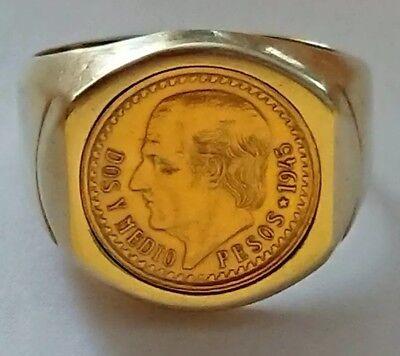 14k 585 Gelbgold Ring 1945 Dos Y Medio Pesos Münze 900er Gold Mexico Gr 66 - 68 StraßEnpreis