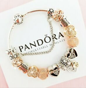 Authentic-Pandora-Charm-Bracelet-Silver-Bangle-with-Love-Heart-European-Charms