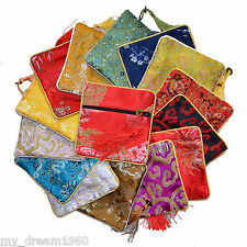 New 10 pcs Mix Chinese Retro Satin Cosmetics Bag Wallet Coin Purse Gift bag