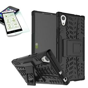 Hybrid-Case-2teilig-Schwarz-fuer-Sony-Xperia-XA1-Huelle-0-3-H9-Hartglas-Tasche