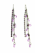LADIES CHUNKY LONG LAYERED PURPLE  STONE  EARRINGS BRAND NEW UNIQUE (a20)